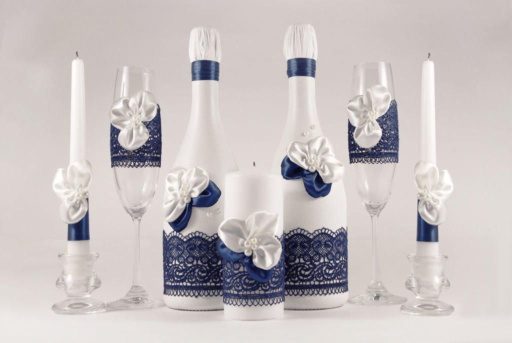 Оформление бутылок и бокалов на свадьбу
