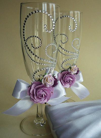 Декор свадебные бокалы своими руками