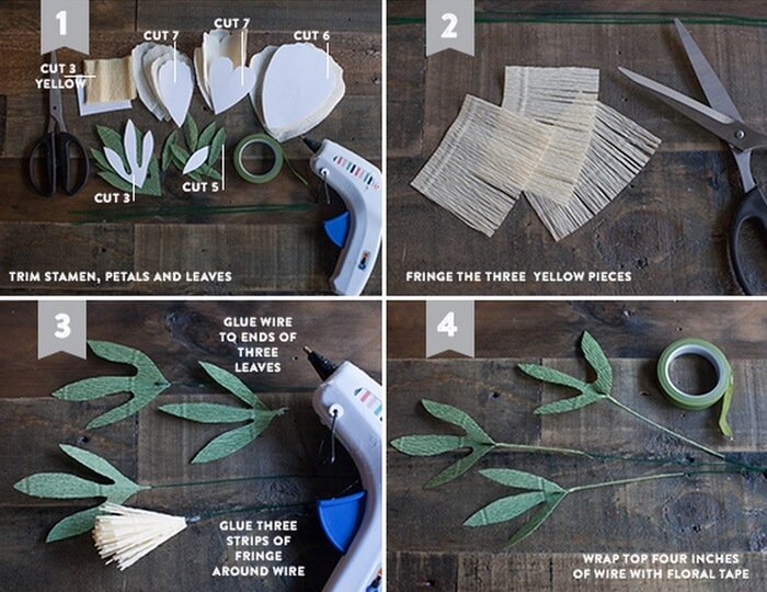 Цветы из креповой или гофрированной бумаги для украшения свадебной машины
