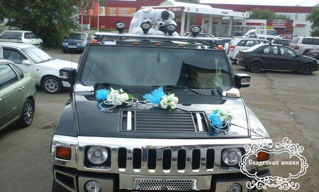 Свадебные украшения на машину - цветы из бумаги и салфеток