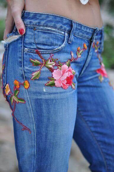 Схема вышивки цветы на джинсах