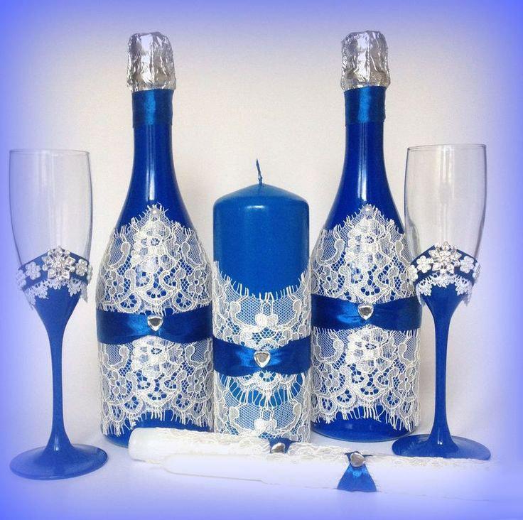 Украшение на шампанское для свадьбы своими руками фото 717