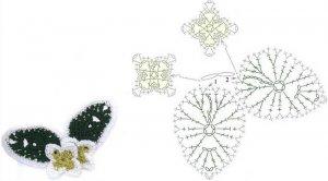 Схемы вязания листьев и цветов