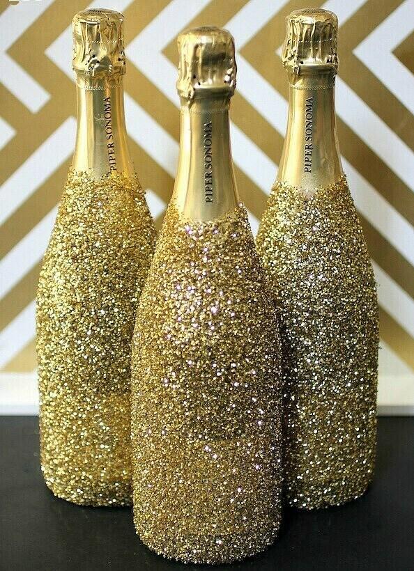 Простой декор бутылки в подарок